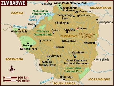 Zimbabwe RefugeeMap - Republic of zimbabwe map
